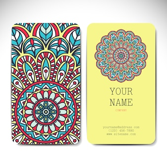 Tribal mandala style visiting card