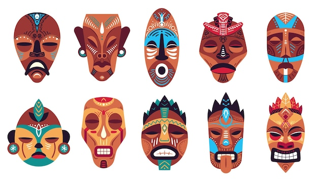 Племенная маска. тотем гавайев, ритуальные или церемониальные африканские, гавайские или ацтекские маски, экзотические традиционные ритуальные деревянные символы векторный набор. этнический тотем гавайских племен, традиционные ацтекские иллюстрации