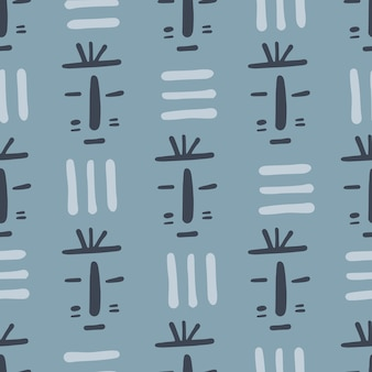 Tribal mask seamless pattern on blue background. african ethnic endless wallpaper. doodle style