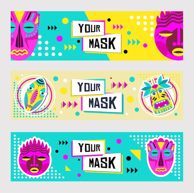 Tribal masks banner design set. traditional decoration, tropical souvenir in boho style vector illustration with text samples