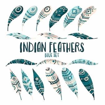手描き模様の部族のネイティブアメリカンの羽。シンプルな漫画のスタイルで設定ストック。印刷に最適な限定パレット