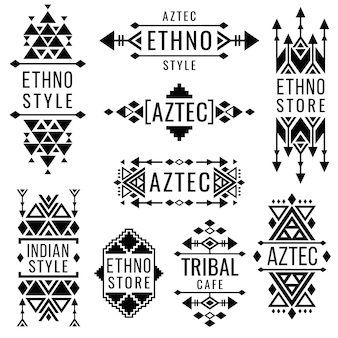 Tribal old mexican vector ornaments