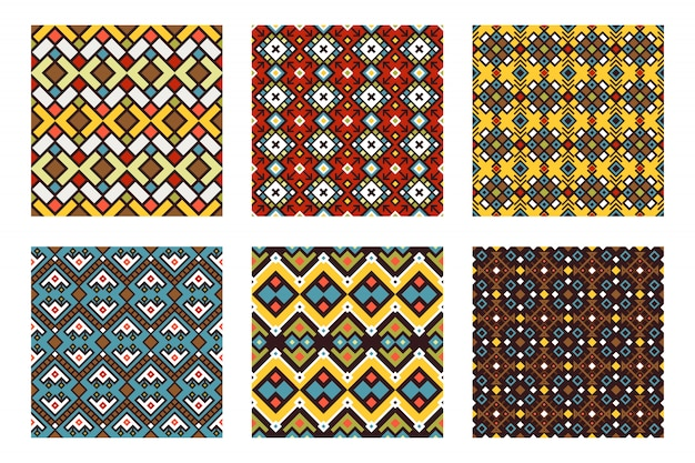 Tribal ornament colored seamless pattern set