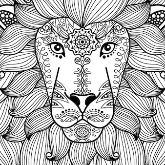 Tribal ornamental black and white lion head