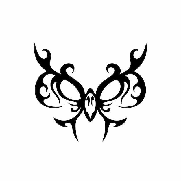 Tribal owl logo tattoo design stencil vector illustration