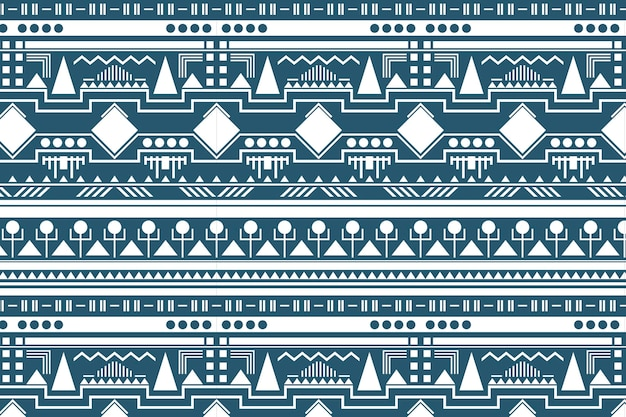 Tribal pattern background, white and blue fabric design vector