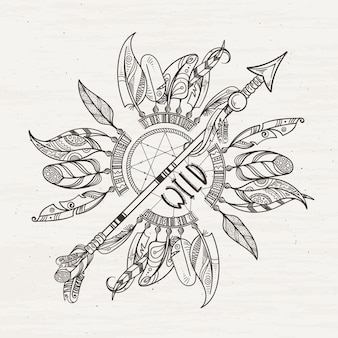 Tribal poster with dreamcatchers arrows and indian feathers