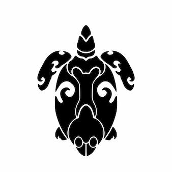 Tribal sea turtle logo tattoo design stencil vector illustration