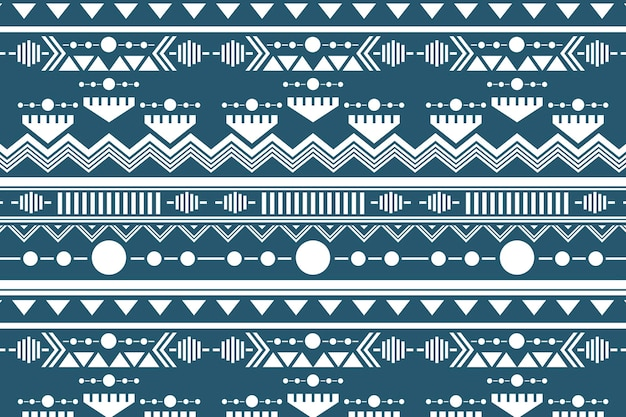 Tribal seamless pattern background vector, white and blue design