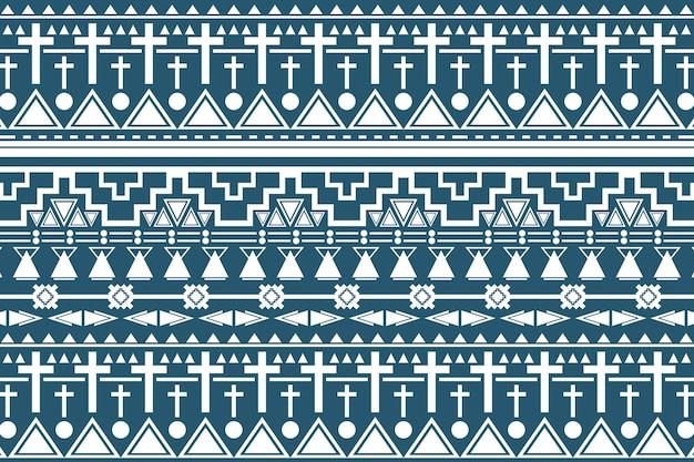 部族のシームレスなパターン、青い背景ベクトル