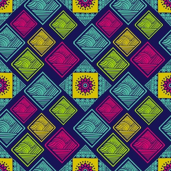 Tribal seamless pattern with colorful rectangle and mandala