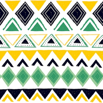 Tribal seamless pattern with geometric abstract ethnic symbols