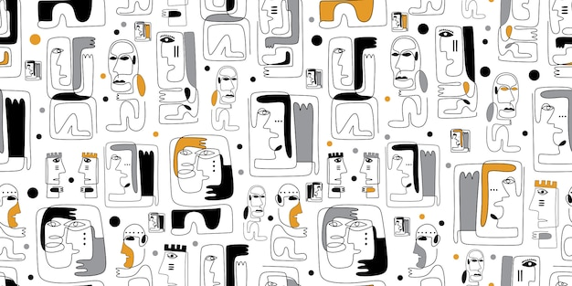 Tribal seamless pattern with maya ancient face abstract