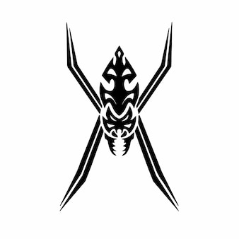 Tribal spider head logo tattoo design stencil vector illustration