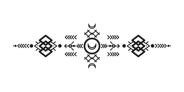 部族スタイルの装飾品と矢。ネイティブアメリカンの装飾パターンデザインコレクション。ベクトルイラスト
