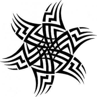 Tribal sun tatoo template icon vector