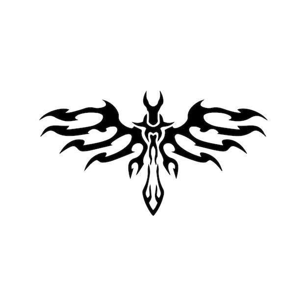 翼のある部族の剣ロゴタトゥーデザインステンシルベクトル図