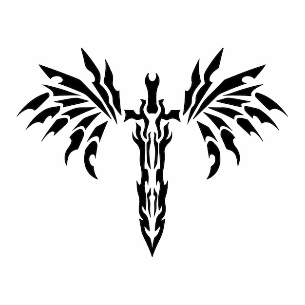 Tribal sword with wings logo tattoo design stencil vector illustration