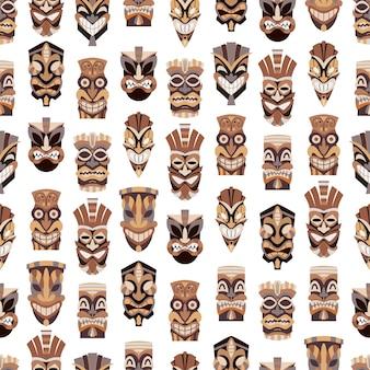 Tribal tiki mask  seamless pattern. cut wooden guise flat icon set.