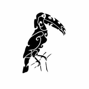 Племенной тукан логотип тату дизайн трафарет векторные иллюстрации
