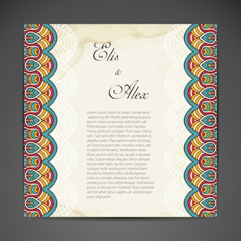 Tribal wedding design with text space