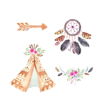 Tribal wigwam and dreamcatcher. boho wedding decoration. watercolor