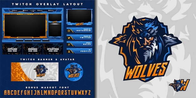 Tribal wolf knight logo for e-sport gaming mascot logo and twitch overlay template