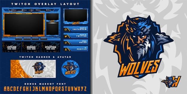 Логотип племенного волка-рыцаря для киберспортивного игрового талисмана и шаблон наложения twitch