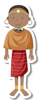Una donna tribale con abito da tribù africana su sfondo bianco