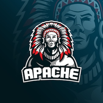 Tribe apache mascot logo with modern illustration