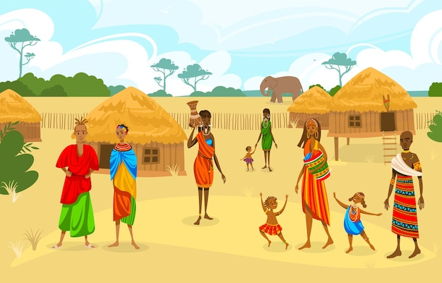 Tribe ethnic people in africa flat vector illustration. cartoon african woman with jug, afro character in tribal traditional costume, standing near ethnic