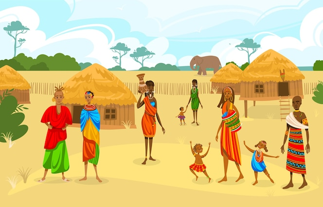 Premium Vector Tribe Ethnic People In Africa Flat Vector Illustration Cartoon African Woman With Jug Afro Character In Tribal Traditional Costume Standing Near Ethnic Do you want to to have a great wild kratts christmas this year? premium vector tribe ethnic people in