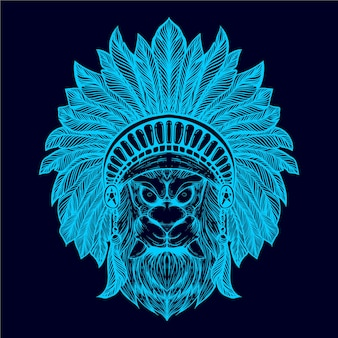 Tribe of lion head illustration