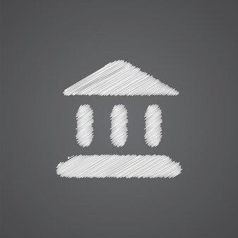 Tribunal sketch logo doodle icon isolated on dark background