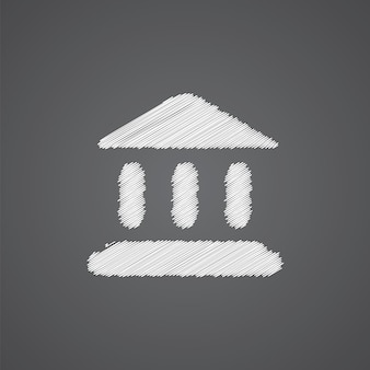 어두운 배경에 고립 된 재판소 스케치 로고 낙서 아이콘