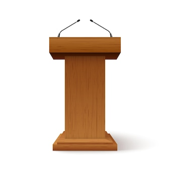 Tribune podium rostrum speech stand. conference stage with microphone