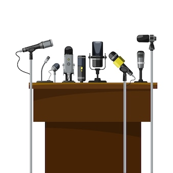 Tribune for speakers and different microphones. conference visualization.