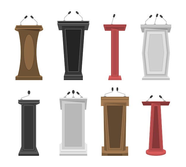 Tribune, stage, stand or debate podium rostrum with microphones. collection of realistic 3d pedestal, wooden tribune and podium with microphone for speech. business presentation or conference.  .
