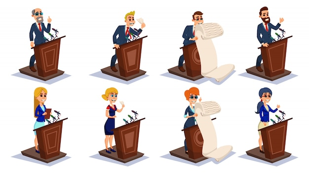 Мультипликационный народный оратор на tribune talk set