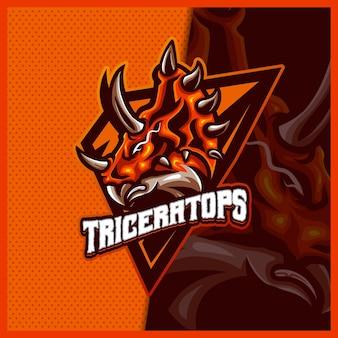 トリケラトプス恐竜マスコットeスポーツロゴデザインイラストベクトルテンプレート、チームゲームストリーマーyoutuberバナーけいれん不和のためのラプターロゴ