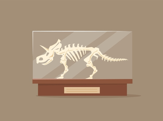 Triceratops in glass showcase cartoon illustration