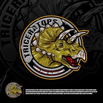 Triceratops logo graphic design vector