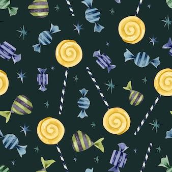 Кошелек или жизнь конфеты звезды леденец бесшовный узор на темном фоне