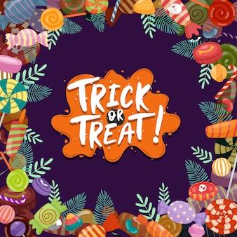 トリックオアトリート、子供向けのカラフルなハロウィーンのお菓子。ハロウィーンの要素で飾られたキャンディー