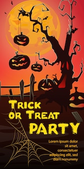 Trick or Treat Party lettering. Pumpkins hanging on spooky tree