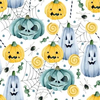 Кошелек или жизнь тыквы и конфеты на бесшовные модели паутины на белом фоне