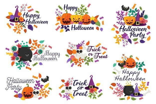 Счастливый хэллоуин и значки trick or treat