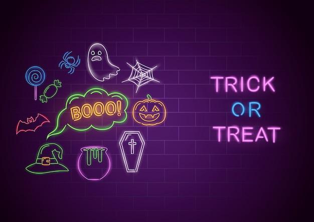 Неоновый баннер trick or treat