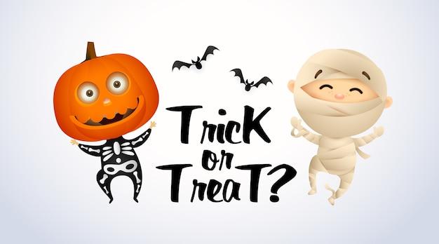 Надпись trick or treat с детьми в костюмах мамочки и тыквы
