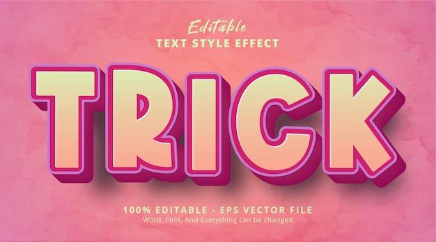 Trick text on cartoon headline style effect, editable text effect